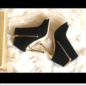 Michael Kors Black and Gold Ankle Boots